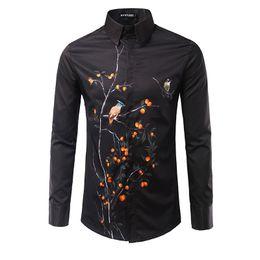 Wholesale Slim Fit Korea Shirt - Wholesale- Men's Personality Flowers and Trees Printed Male Korea Style Slim Fit Long-sleeved Shirt Black White Men Shirts Camisas Hombre