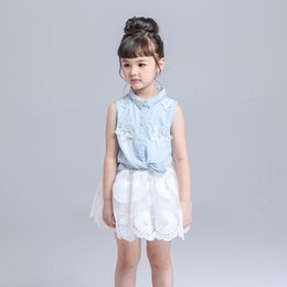 Wholesale Demin Shorts Girls - Summer girl dress set Outfits Baby clothes Girls Sets Cute Demin Jeans Short Sleeve Tops Lace Tutu Skirts suits