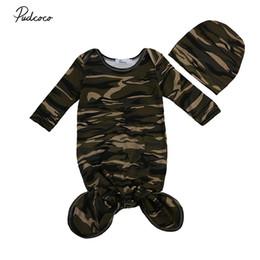 Wholesale Camouflage Blanket - Wholesale- 2017 Camouflage Newborn Toddler Baby Boy Girl Swaddle Blanket Baby Sleeping Bag Muslin Wrap Headband
