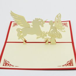 Wholesale Love Handmade Card - Wholesale- The unicorn love fairy tales  3D kirigami card  handmade greeting cards gift for men Free shipping