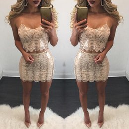 Wholesale Casual Mini Skirt Outfits - 2017 two piece dress skirt and blouse outfit crop top shirt bodycon skirt gold black sequin