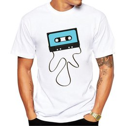 Wholesale Neck Tape - 2017 Fashion 80's Casette Tape Print T Shirts Men's T-Shirt Shorts Sleeve Brand NEW Summer Male Tops Tees Casual Shirts for Man