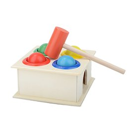 Wholesale Colorful Wooden Intellectual Toy - Wholesale- Children Kids Baby Colorful Toys Hammering Wooden Ball+ Hammer Box Intellectual Toy New VB822 P
