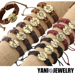 Wholesale Engagement Signs - 12PCS!! Fashion 12 Zodiac Signs Leather Bracelet Constellations Leather Bracelets for Men Women Adjustable Bracelet Jewelry