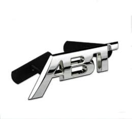 Wholesale Auto Front Grille - Metal ABT refit Aluminum car badge auto front grille emblem 3D ABT logo stickers car sticker decal for VW CC Polo passat b5