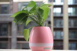 Wholesale Sky Blue Mp3 - Creatives Touch Wireless Bluetooth Flowerpot Mini Subwoofer Speaker with LED Multiple Colors Home Smart Plant Office Mp3 Music Player Pot