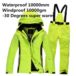Wholesale Pink Ski Pants - Wholesale- Free Shipping Men Winter Waterproof Pant And Jacket Ski Suit Snowboard Suit Sport women Snow Pants and Jacket -30 Degree