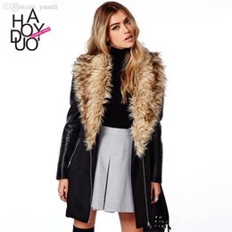 Wholesale Inserted Collars - Wholesale-wool coat pu sleeve with zipper insert trench with faux fur collar women coat for wholesale and free shipping haoduoyi
