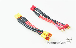 Wholesale Male Parallel - Wholesale- T Plug XT60 Plug Parallel Y-Harness Two Male One Female for DJI Phantom Double Battery Lipo RC Battery ESC 12AWG