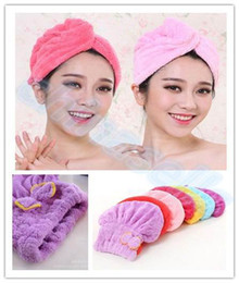 Wholesale Wholesale Shower Caps - Women Lady Lightweight Shower Cap Fast Quick Dry Magic Cap Hair Towel Super Absorbent Towels Cap Bath Wrap Twist Hat