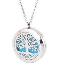 Ароматические ожерелья онлайн-Серебряные ювелирные изделия Дерево Жизни нержавеющей стали кулон ожерелье аромат 25 мм медальон эфирные масла диффузор медальоны бесплатно 50 шт. войлочные прокладки в подарок