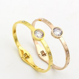 Wholesale 18k Gold Bangles Valentine - Fashion Silver Rhinestone Cuff Bracelets Bangles For Women Brand Designer stainless steel Jewelry Valentine Gift