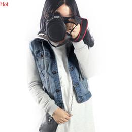 Wholesale Korean Jeans Jacket Women - Vintage 2016 Korean OutwearNew Women Military Denim Coat Uniform Hooded Patchwork Loose Jeans Plus Size Baseball Jacket Sportwear SV006799