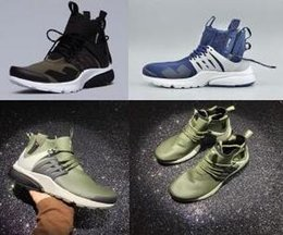 Wholesale Shoes Height Increasing Fashion Boots - High Street Fashion ACRONYM x Air Presto Casual Shoes Boots Olive Green Black Size 7 10 Wholesale Sneakers Drop Shipping 2017 New