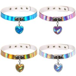 Wholesale Steel Collar Woman Slave - Rainbow Laser Love Heart Pendant PU Leather Choker Necklace Collar Sub Slave Necklace for Women Statement Jewelry