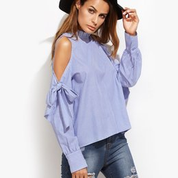 Wholesale Long Sleeve Blouse Bow - 2017 Summer Spring Sexy Off Shoulder Striped Blouse Long Sleeve Blue Shirt Bowknot Women Tops Casual blusas