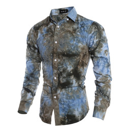 Wholesale tie dye long shirt - Wholesale- HOT Sale New 2016 High Quality Mens Designer 3D tie dye printing Dress Shirts Tops Casual Slim Long sleeve Shirts Free shipping
