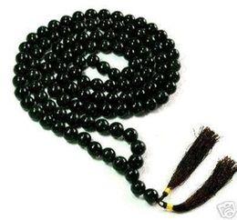 Wholesale Tibetan Buddhist Pendants - Tibetan 10mm Buddhist 108 black jade Prayer Beads Mala Necklace