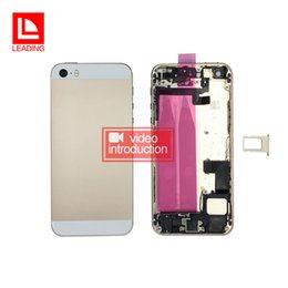 Wholesale Middle Frame Battery Cover - Back Battery Cover Housing With Flex Cable For iPhone 5s Full Housing Assembly Metal Alloy Housing Chassis Middle frame fast free shipping
