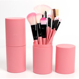 Wholesale Cute Mascara - Professional Cute Pink Make Up Brushes With Tools Box Brush Mascara 12pcs Makeup Brush Set Tool Kit