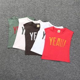 Wholesale Toddler Cotton Tshirts - Kids Summer Clothes Fashion Tank Clothes for Children Europe Girls Boys Letter Printed Tshirts Toddler Cotton Tops Outfits