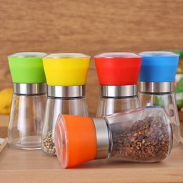 Wholesale Plastic Salt Pepper Grinders - 6 Colors Best selling Glass Pepper Mill Grinder Manual Salt Grinder Plastic Cover Hand Grinder Mill