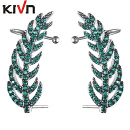 Wholesale Leaf Cuff Earrings - KIVN Fashion Jewelry Colorful Feather CZ Cubic Zirconia Leaf Ear Cuff Ear Crawler Climber Earrings for Women Birthday Christmas Gifts