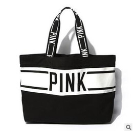 canvas tote bag large stripe Promo Codes - Fashion Women Lady pink printed stripe Canvas shoulder bag handbag high-capacity all-match Totes temperament Multi-function shoulder hobos