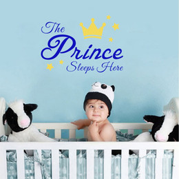 Wholesale Kids Prince - Sweet Quotes The Prince And Princess Sleeps Here Wall Stickers DIY Stars Cute Crown Nursery Kids Room Decoration Boys Girls