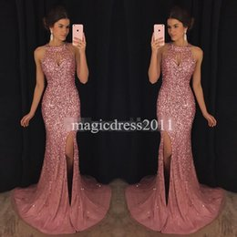 Wholesale Luxury Kaftan - Luxury Pink Evening Dresses Kaftan Abaya Middle East Saudi Arabia 2017 Mermaid Halter Sexy Split Prom Dresses Dress for Party Wear Plus size