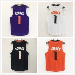 Wholesale Spun Polyester Fabric - New Arrivals TOP 2017 Devin Booker Phoenix jersey BOOKER #1 Jogging Clothing Mix order new fabrics retro Jogging Clothin