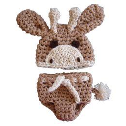 Wholesale Crochet Baby Giraffe - Crochet Newborn Giraffe Costume,Handmade Knit Baby Boy Girl Animal Outfit,Giraffe Hat Diaper Cover Set,Infant Toddler Photo Prop Shower Gift