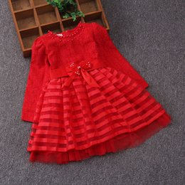 Wholesale Dress Tutu Red Stripe - Christmas children party dress Autumn grils stripe bowknot belt beaded princess dress kids long sleeve lace jacquard dress red T0352