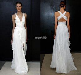 Wholesale Modern Goddess - 2017 Sheath Wedding Dresses for Greek Goddess Simple Brides Wear Sale Cheap Long Pleated Split Full Length Skirt Bohemian Boho Bridal Gowns