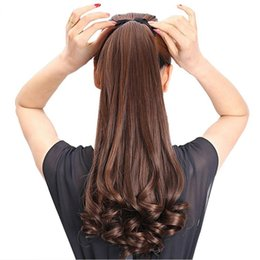 Wholesale Brown Tail - HAIR 22'' Long Curly Synthetic Ponytail Light Brown Drawstring Clip In Ponytail Hair Extensions Heat Resistant Hair Tail