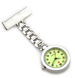 Wholesale Hanging Pocket Watch - nurse fob watch glow in dark dial face hospital nursing doctor students lapel brooch classic hanging pocket clock as medical gift