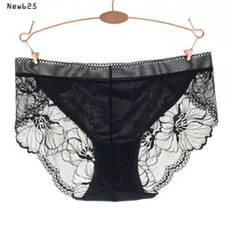 Wholesale Plus Sized Panties - women briefs underpants seamless ice silk women's sexy lace panties seamless panty briefs underwear intimates Plus size