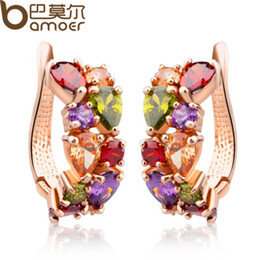 Wholesale Nickel Free Jewelry Earrings - BAMOER Real Gold Plated Gold Unique Stud Earrings with Multicolor AAA Zircon Stone Nickel, Cadmium free Jewelry JIE020