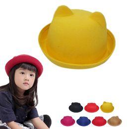Wholesale Fedora Cat Ear Hat - New Children fashion hat style Wool Girls Fedora Hat 7 colors Devil Horns Cat ear animal Bowler lovely Cap for little girl Gift
