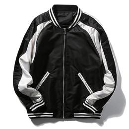 Wholesale Blue Varsity Jacket Men - Fashion Mens Casual Bomber Jacket Patchwork Slim Fit Varsity Jackets Plus Size M-5XL Madarin Collar Jaqueta Masculina