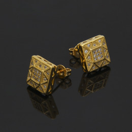 Wholesale Earrings Stud Box - New Arrival Mens 18k White Gold Plated Crystal Earring Fashion Men Jewelry Hip Hop Square Copper Stud Earrings With Jewelry Box Pack