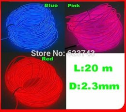 Wholesale Free Flexible Tube - Wholesale- 20M EL Wire Lemon Red Yellow Green White Blue Purple Pink Flexible Neon Light glowing Rope Tube with Controller Free Shipping