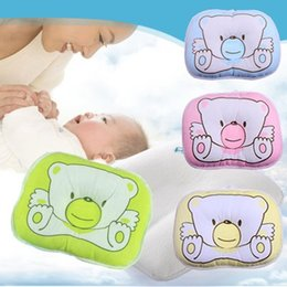 Wholesale Support Pillow Baby Safe - 2017 New cotton baby boys girls Infant newborn Concave bedding print cute bear oval shape Neck Support safe shape pillow,22*18 CM