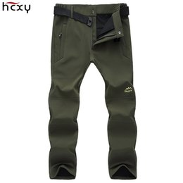 Wholesale Men 8xl - Wholesale-HCXY Brand 2016 Winter Men's Softshell Pants Men Thicken Velvet Warm Pants Trousers Male Waterproof Windproof Plus Size M-8XL