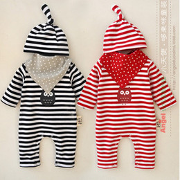 Wholesale Newborn romper baby boys owl stripe printed long sleeve jumpsuits hat stars saliva towel pc clothes sets Babies full moon clothing T3948
