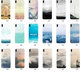 Wholesale Drawing Skin Iphone - For iPhone X Case Colored Drawing Scenery Clear Soft TPU Gel Mountain City Sunset Ocean Natural Landscape Skin Cover for iPhone 8 Plus 7 6 6
