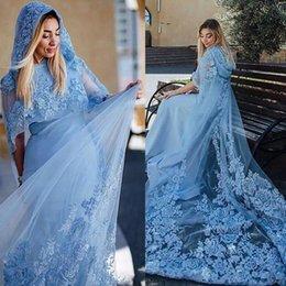 Wholesale Orange Hooded Dress - Light Sky Blue Muslim Evening Dresses Lace Appliques Hooded Cloak Saudi Arabia Women Prom Dresses Sweep Train Formal Party Vestidos