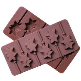 Wholesale Plastic Rod Stock - Silicone mold 6 lattices double Pentagram lollipop mold DIY star chocolate mold comes with plastic rod