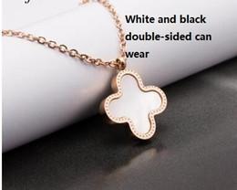 Wholesale Wholesale 14 K Gold - mix styles 14 k rose gold clover letter necklaces female Lasting treasure color collarbone chain necklaces clover necklace