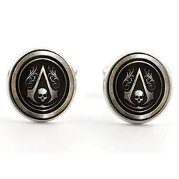 Wholesale Skull French Cuffs - Movie Jewelry Assassin's Creed Logo Cufflink Skull Time Gem Cufflinks French shirt Wedding Business cuff links